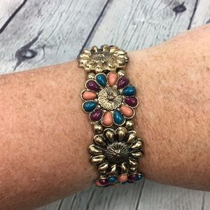Boho chic retro bracelet earthy beaded stretchy